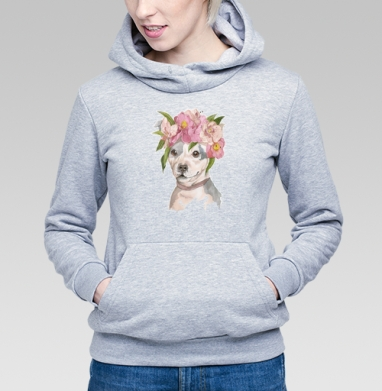 Собака в цветах - Купить детские толстовки с собаками в Москве, цена детских толстовок с собаками  с прикольными принтами - магазин дизайнерской одежды MaryJane