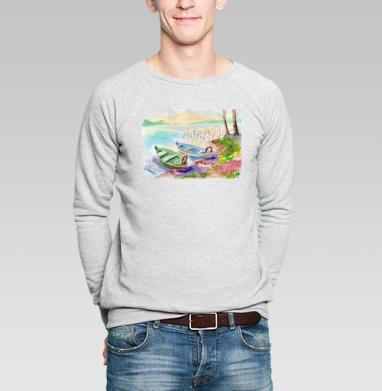 Лодки. Литва - Купить мужские свитшоты с акварелью в Москве, цена мужских свитшотов с акварелью  с прикольными принтами - магазин дизайнерской одежды MaryJane