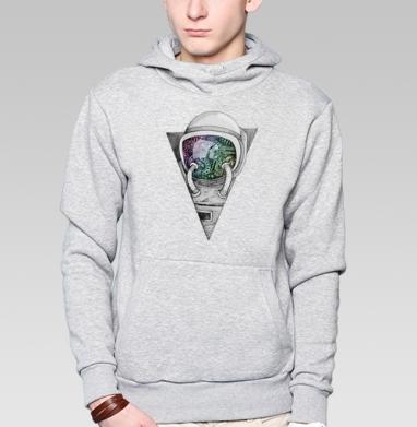 Космонавт, Толстовка мужская, накладной карман серый меланж