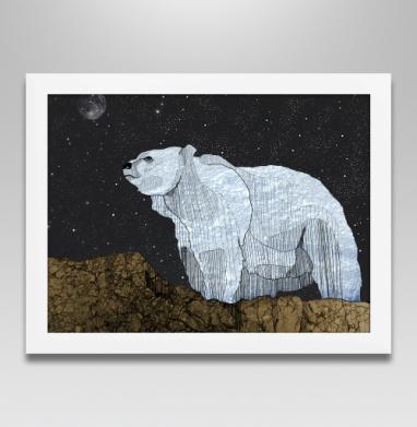 Мишка - Постер в белой раме