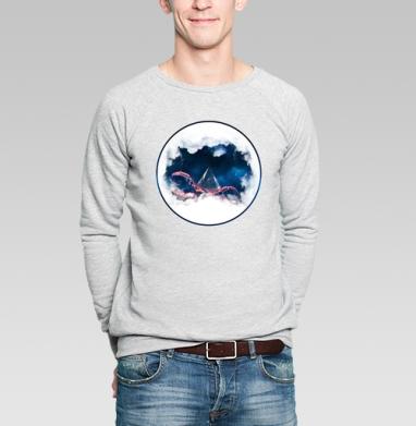 Космический осминог - Купить мужские свитшоты с космосом в Москве, цена мужских свитшотов с космосом  с прикольными принтами - магазин дизайнерской одежды MaryJane