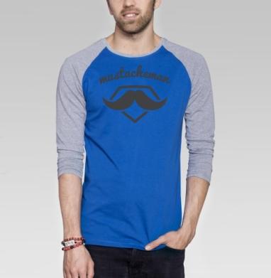 Человек-усы - Футболка мужская с длинным рукавом синий / серый меланж, символ, Популярные