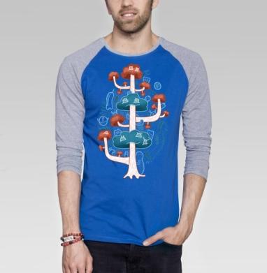 Дерево духов - Футболка мужская с длинным рукавом синий / серый меланж, природа, Популярные