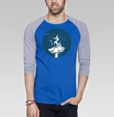 Синяя гусеница - Футболка мужская с длинным рукавом синий / серый меланж, персонажи, Популярные