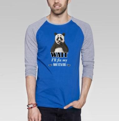 Усатая панда - Футболка мужская с длинным рукавом синий / серый меланж, усы, Популярные