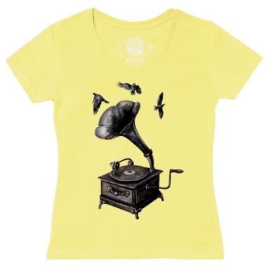 Футболка женская желтая - Музыка винтаж