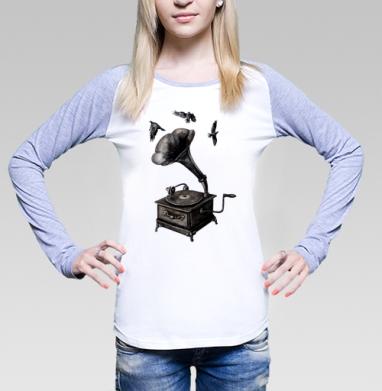 Футболка женская с длинным рукавом бело-серая - Музыка винтаж