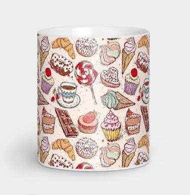 Сладкое - мороженое, зефир, кофе, пончики, леденцы, шоколад. Паттерн - иллюстация, Новинки