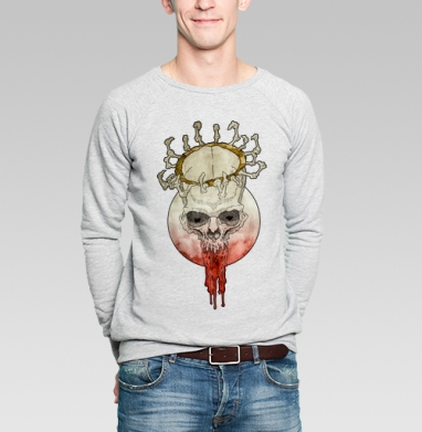 Свитшот мужской серый-меланж  320гр, стандарт - Мертвый король