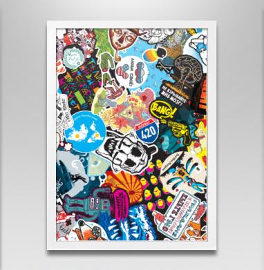 Стикербомбинг Stickerbombing AG - Постер в белой раме