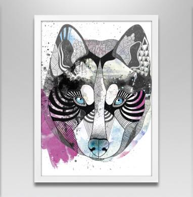 Акварельный волк - Постер в белой раме, волк
