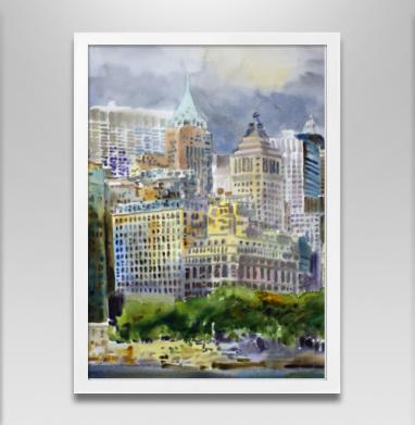 Перламутровый мираж запечатка - Постер в белой раме, город