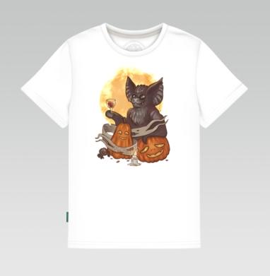 Детская футболка белая - Мышь и тыквы