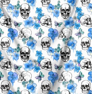 Черепа и голубые цветы - Череп