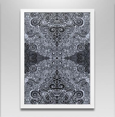 Черно-белая абстракция - Постер в белой раме, aбстрактные