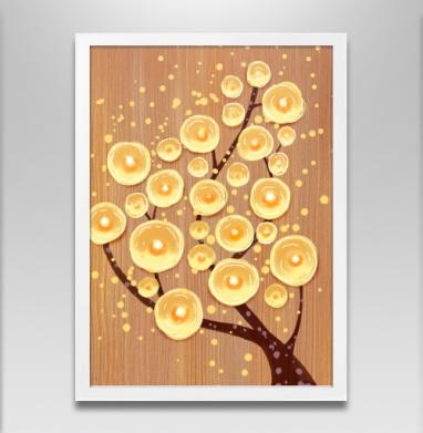 Светлячковое дерево - Постер в белой раме, нежность