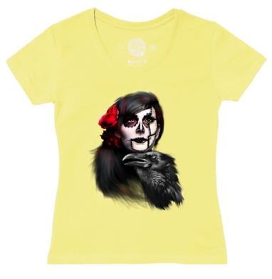 Футболка женская желтая - Девушка и ворон