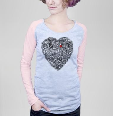 Два сердца вместе - Футболка женская с длинным рукавом серый меланж/розовая