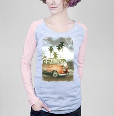 Куба рядом - Футболка женская с длинным рукавом серый меланж/розовая