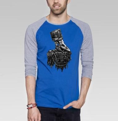 Враноголовый - Футболка мужская с длинным рукавом синий / серый меланж, череп, Популярные