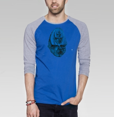 Рекурсия - Футболка мужская с длинным рукавом синий / серый меланж, голова, Популярные
