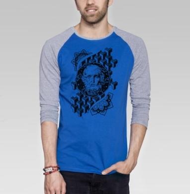 Космический мужик - Футболка мужская с длинным рукавом синий / серый меланж, борода, Популярные