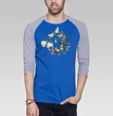 Мотыли - Футболка мужская с длинным рукавом синий / серый меланж, лето, Популярные