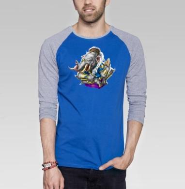 Шестилапый слон - Футболка мужская с длинным рукавом синий / серый меланж, йога, Популярные