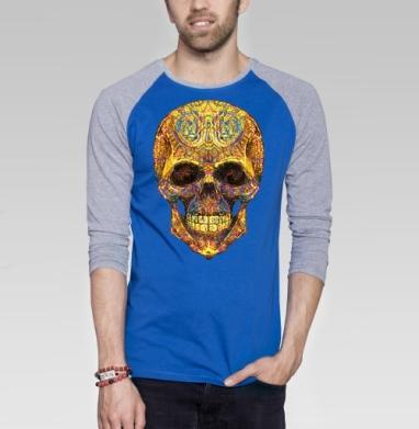 Весёлый череп - Футболка мужская с длинным рукавом синий / серый меланж, этно, Популярные
