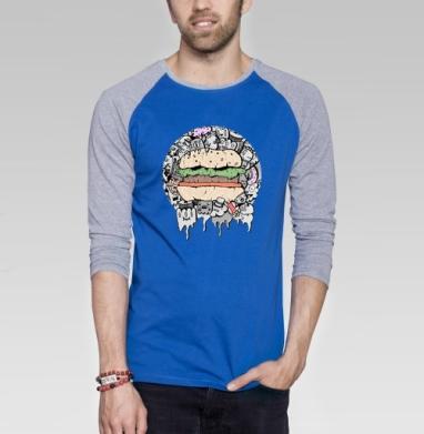 Дудл - Футболка мужская с длинным рукавом синий / серый меланж, еда, Популярные
