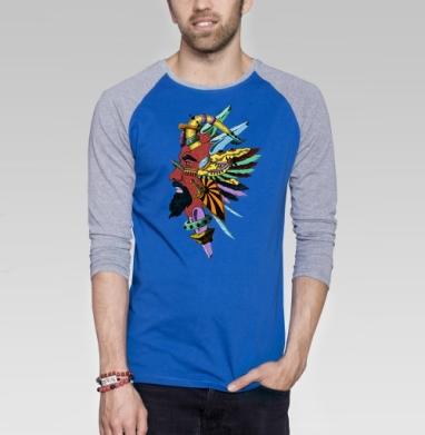 Красная Звезда - Футболка мужская с длинным рукавом синий / серый меланж, Крылья, Популярные