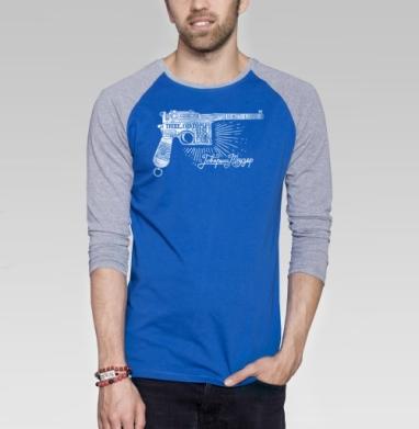 Маузер  - Футболка мужская с длинным рукавом синий / серый меланж, оружие, Популярные