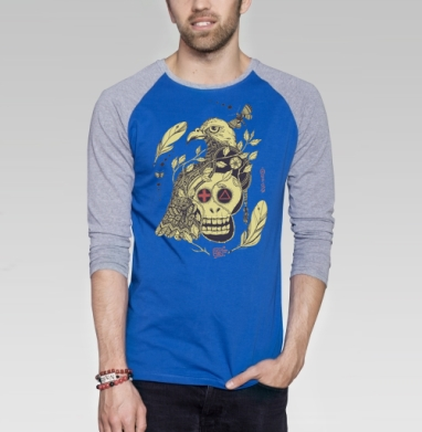Птица бессмертия желтая - Футболка мужская с длинным рукавом синий / серый меланж, этно, Популярные