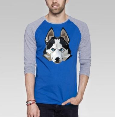 Хаски лед - Футболка мужская с длинным рукавом синий / серый меланж, собаки, Популярные