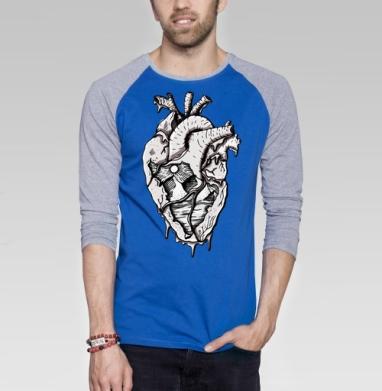 Сердце - Футболка мужская с длинным рукавом синий / серый меланж, горы, Популярные