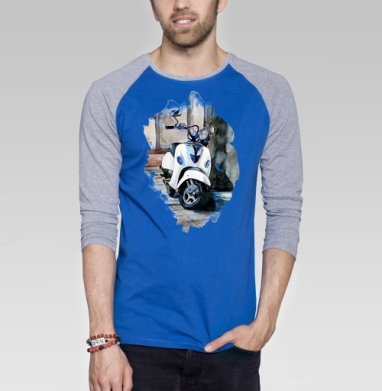 Мотороллер Веспа - Футболка мужская с длинным рукавом синий / серый меланж, лето, Популярные