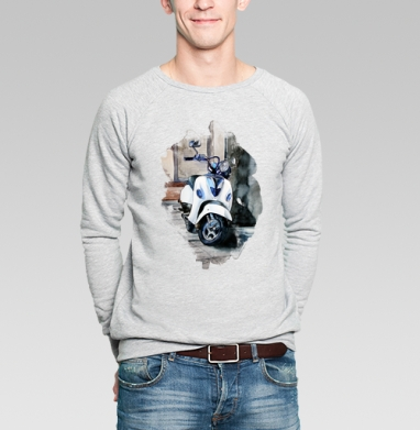 Мотороллер Веспа - Купить мужские свитшоты с акварелью в Москве, цена мужских свитшотов с акварелью  с прикольными принтами - магазин дизайнерской одежды MaryJane