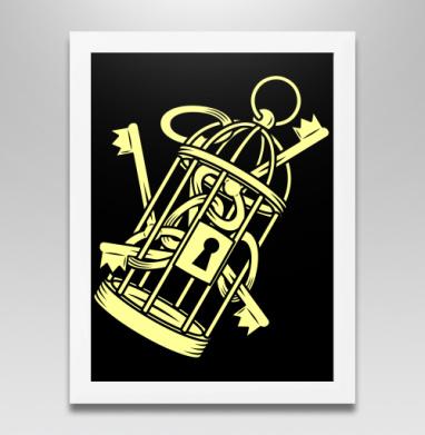 Золотые ключи в золотой клетке, Постер в белой раме