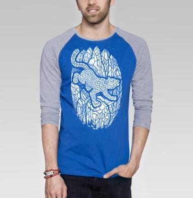 Снежный барс - Футболка мужская с длинным рукавом синий / серый меланж, горы, Популярные
