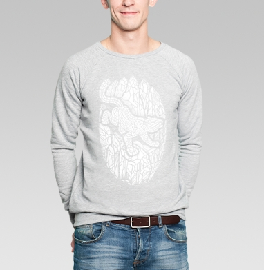 Снежный барс - Купить мужские свитшоты с кошками в Москве, цена мужских  с кошками  с прикольными принтами - магазин дизайнерской одежды MaryJane