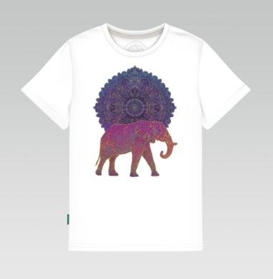 Детская футболка белая - Слон и солнце