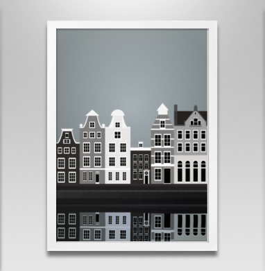 Амстердам - Постер в белой раме, город