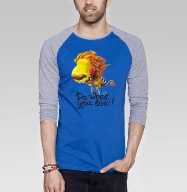 Лев на велосипеде - Футболка мужская с длинным рукавом синий / серый меланж, нежность, Популярные