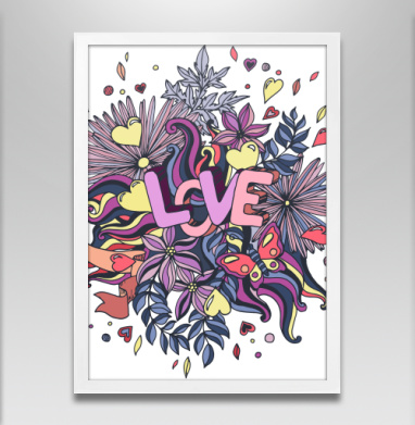 Принт про любовь в мультяшном стиле - Постер в белой раме, для влюбленных