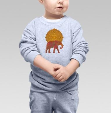 Cвитшот Детский серый меланж - Слон, несущий Солнце