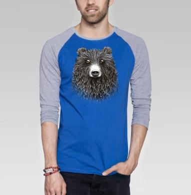 Мишенька - Футболка мужская с длинным рукавом синий / серый меланж, графика, Популярные