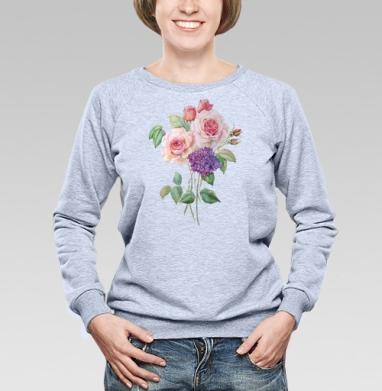 Розы и гортензия - Купить женские свитшоты с роами в Москве, цена женских свитшотов с розой с прикольными принтами - магазин дизайнерской одежды MaryJane