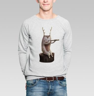Дух, играющий на флейте - Купить мужские свитшоты с природой в Москве, цена мужских свитшотов с природой  с прикольными принтами - магазин дизайнерской одежды MaryJane