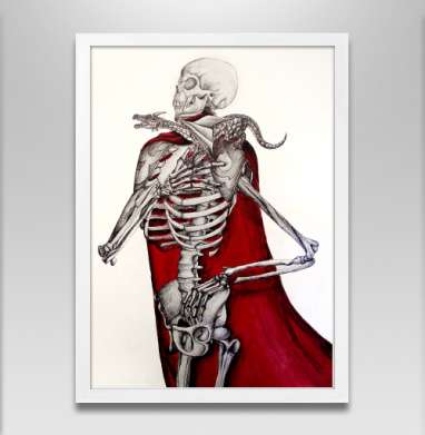 Скелет с драконом - Постер в белой раме, дракон