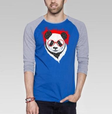 Умный панда - Футболка мужская с длинным рукавом синий / серый меланж, Хипстер